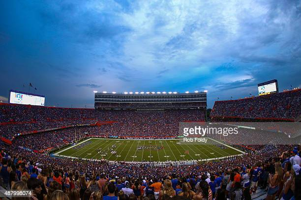 A general view of Ben Hill Griffin Stadium during the first quarter the game between the Florida Gators and the New Mexico State Aggies on September...
