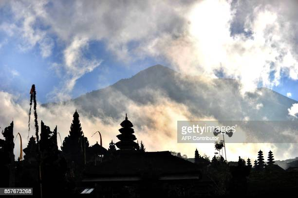 A General view of Besaki tempel before people arrive to pray for Mount Agung during Purnama ceremony in Karangasem on Bali island on October 5 2017...