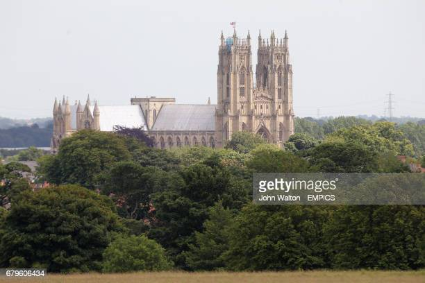 A general view of Beverley Cathedral beyond Beverley Racecourse