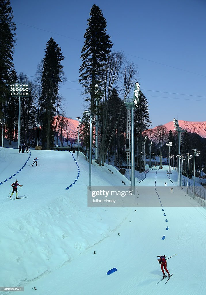 A general view of biathlon practice ahead of the Sochi 2014 Winter Olympics at the Laura Cross-Country Ski and Biathlon Center on February 5, 2014 in Sochi, Russia.