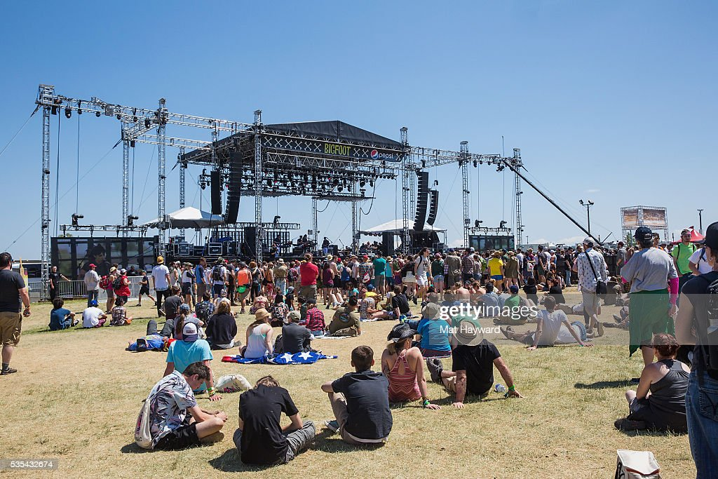 General view of Bigfoot Stage while Deep Sea Diver performs during the Sasquatch! Music Festival at Gorge Amphitheatre on May 27, 2016 in George, Washington.