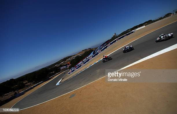 A general view of bikes on track during the practice for the Red Bull US Grand Prix at the Mazda Laguna Seca Raceway on July 23 2010 in Monterey...
