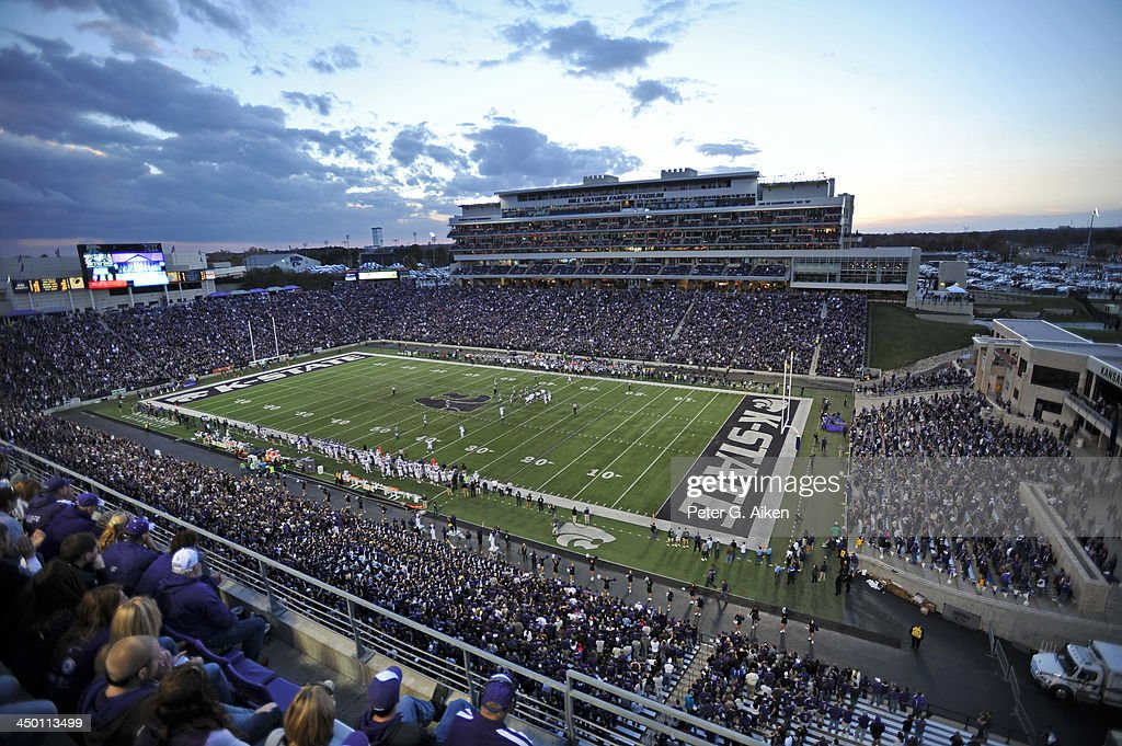 A general view of Bill Snyder Family Stadium during a game between the Kansas State Wildcats and the TCU Horned Frogs on November 16, 2013 at Bill Snyder Family Stadium in Manhattan, Kansas. Kansas State defeated TCU 33-31.