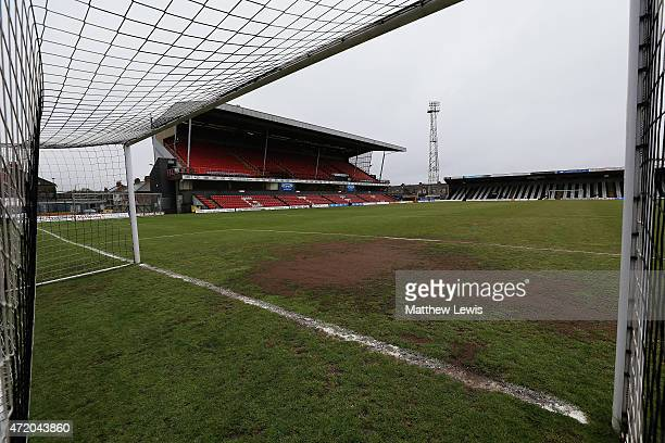 A general view of Blundell Park ahead of the Vanarama Football Conference League match between Grimsby Town and Eastleigh FC at Blundell Park on May...