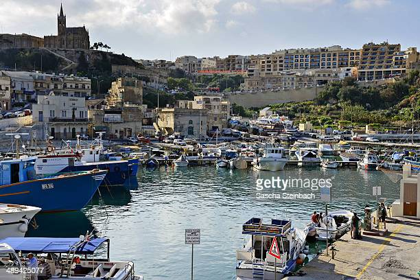 A general view of boats in the Mgarr harbour basin on May 09 2014 on Gozo Island Malta