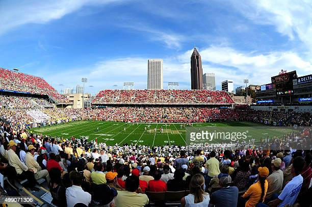 A general view of Bobby Dodd Stadium during the game between the Georgia Tech Yellow Jackets and the Georgia Bulldogs on November 28 2015 in Atlanta...