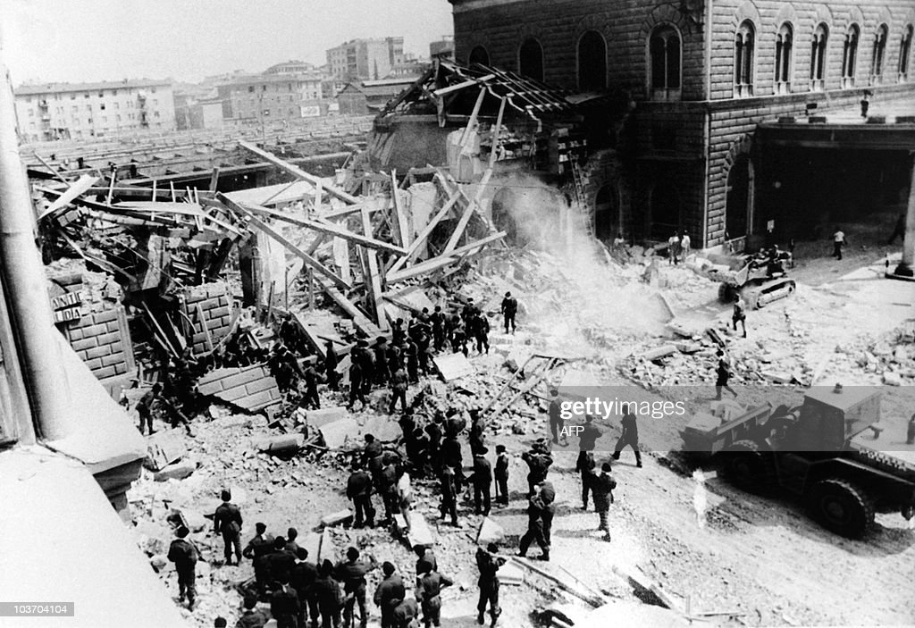 General view of Bologna Central station and of wagons of the AnconaChiasso train pictured on August 02 1980 in Bologna after a terrorist bombing...
