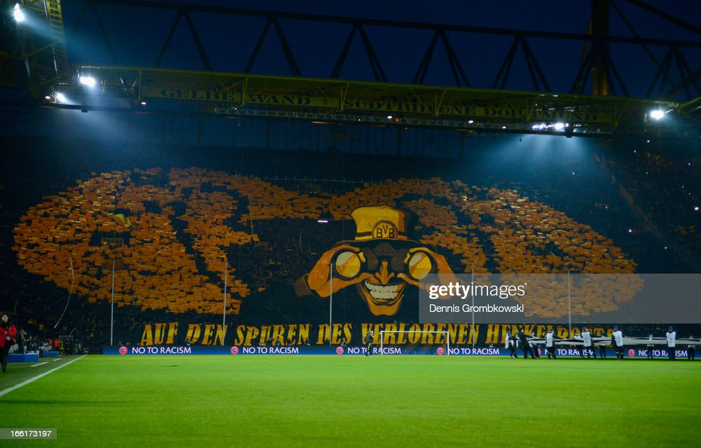 A general view of Borussia Dortmund fans ahead of the UEFA Champions League quarterfinal second leg match between Borussia Dortmund and Malaga at...