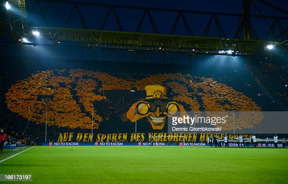 A general view of Borussia Dortmund fans ahead of the UEFA Champions League quarterfinal second leg match between Borussia Dortmund and Malaga at...