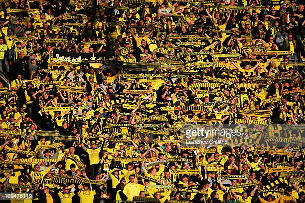 A general view of Borussia Dortmund fans during the UEFA Champions League final match between Borussia Dortmund and FC Bayern Muenchen at Wembley...