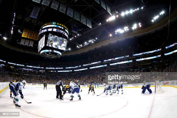 A general view of Boston Bruins against the Vancouver Canucks during the second period at TD Garden on October 19 2017 in Boston Massachusetts