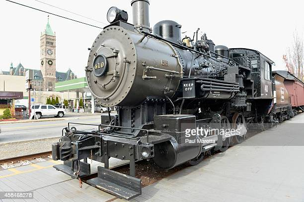 A general view of Boston Maine steam locomtive preserved in the former textile manufacturing town of Lowell on the Merrimack River as part of the...