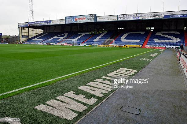 A general view of Boundry Park during the pre season friendly match between Oldham Athletic and Manchester City at Boundry Park on July 31 2012 in...