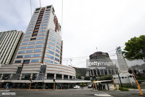 A general view of Bowen House and The Beehive as coalition discussions continue at Parliament on October 18 2017 in Wellington New Zealand Neither...