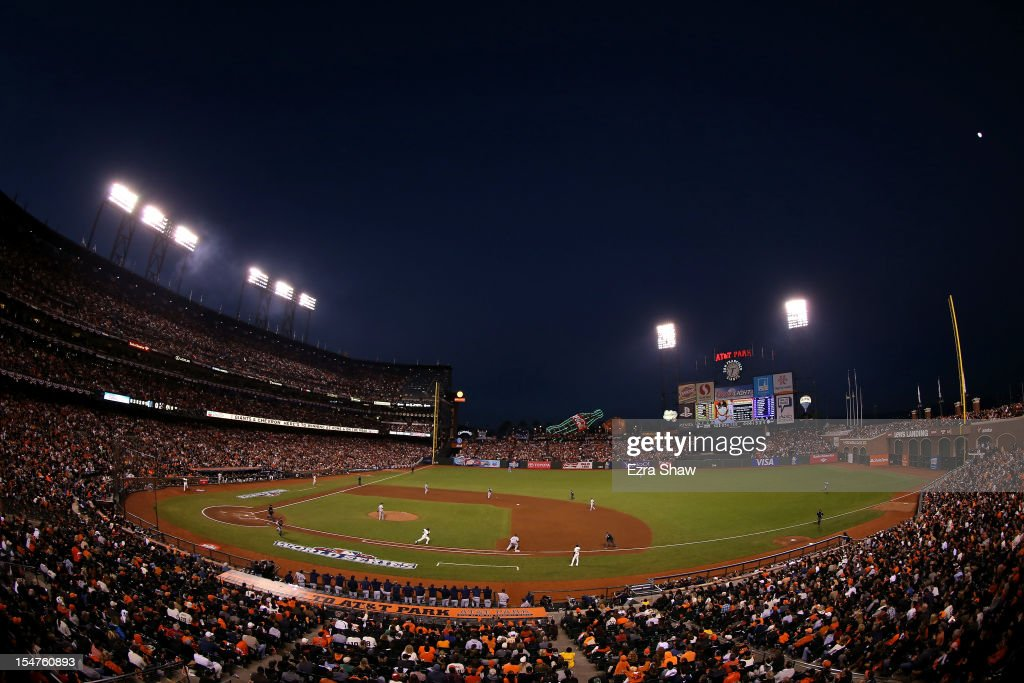A general view of <a gi-track='captionPersonalityLinkClicked' href=/galleries/search?phrase=Brandon+Crawford&family=editorial&specificpeople=5580312 ng-click='$event.stopPropagation()'>Brandon Crawford</a> #35 of the San Francisco Giants grounding out in the fifth inning against the Detroit Tigers during Game Two of the Major League Baseball World Series at AT&T Park on October 25, 2012 in San Francisco, California.