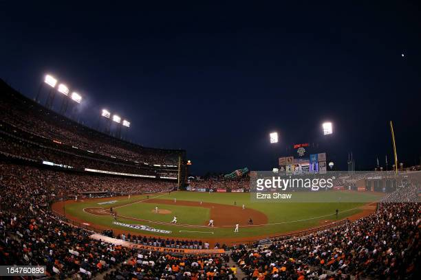 A general view of Brandon Crawford of the San Francisco Giants grounding out in the fifth inning against the Detroit Tigers during Game Two of the...