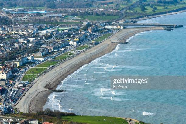 A general view of Bray beach and cost line from the Bray Head On Sunday March 26 in Bray Ireland