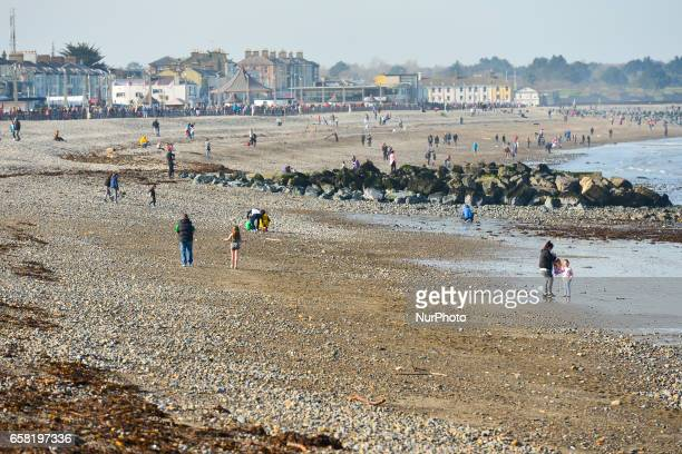 A general view of Bray beach On Sunday March 26 in Bray Ireland