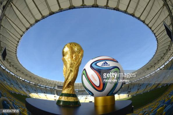 A general view of Brazuca and the FIFA World Cup Trophy at the Maracana before the adidas Brazuca launch at Parque Lage on December 3 2013 in Rio de...