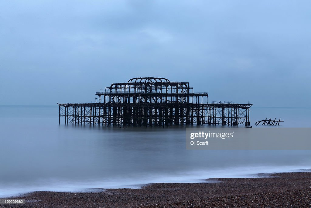 A general view of Brighton's derelict West Pier at dusk on January 9, 2013 in Brighton, England.