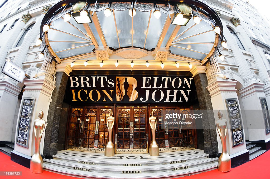 General view of Brit Idol entrance at London Palladium on September 2, 2013 in London, England.