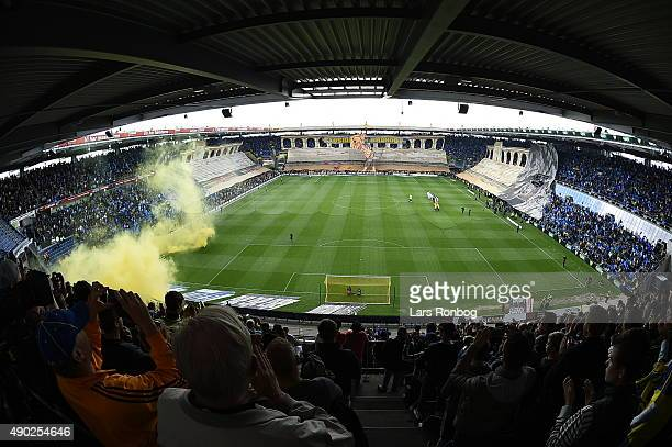 General view of Brondby IF fans cheering with a stadium tifo prior to the Danish Alka Superliga match between Brondby IF and FC Copenhagen at Brondby...
