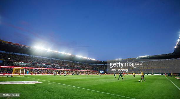 General view of Brondby Stadion during the UEFA Europa League playoff 1st leg match between Brondby IF and Panathinaikos at Brondby Stadion on August...