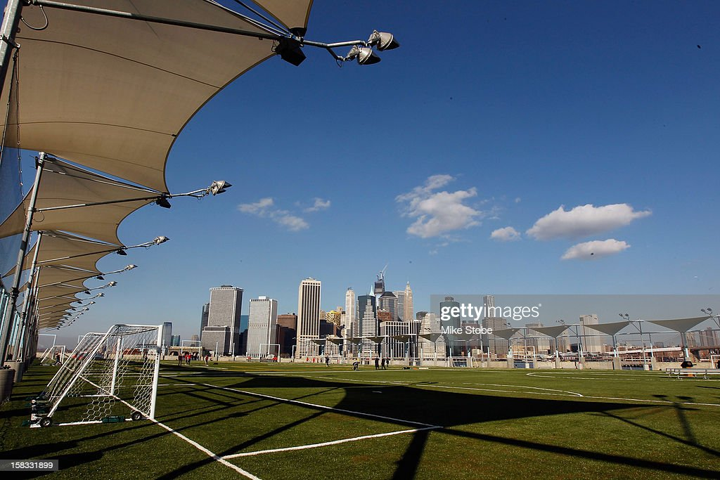 A general view of Brooklyn Bridge Park - Pier 5 prior to a ribbon-cutting ceremony to open a new soccer field on Brooklyn's Pier 5 on December 13, 2012 in New York City.