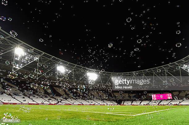 A general view of bubbles inside the stadium after full time in the UEFA Europa League Qualification round match between West Ham United and NK...