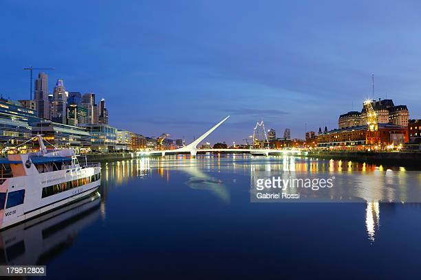 General view of buildings boats and the 'Women's Bridge' in Puerto Madero on September 04 2013 in Buenos Aires Argentina Hilton Hotel Buenos Aires is...