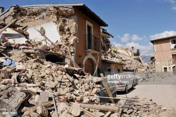 A general view of buildings reduced to rubble by an earthquake on April 6 2009 in Onna Italy The 63 magnitude earthquake tore through central Italy...