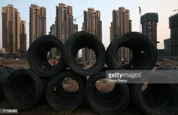 A general view of buildings under construction near the People's Bank of China office building on September 29 2007 in Chongqing China The People's...