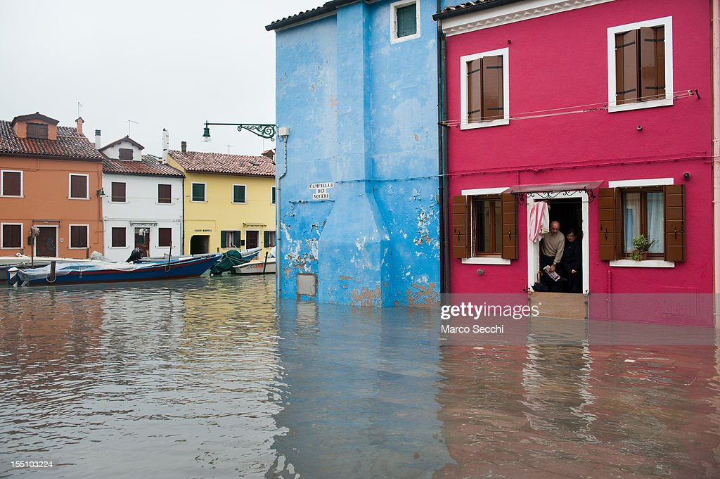 A general view of Burano after its streets have been flooded on November 1, 2012 in Venice, Italy. More than 59% of Venice has been been left flooded, after the historic town was hit by exceptionally high tides. The sea level rose above 140cm overnight was expected to remain above critical levels for about 15 hours.