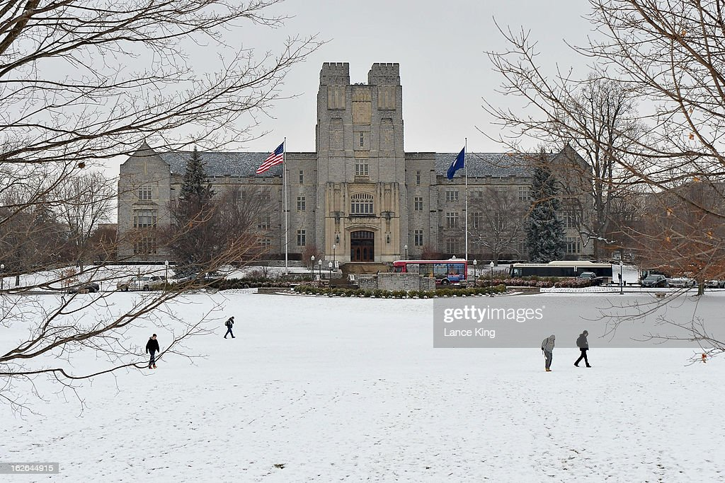 A general view of Burruss Hall (center building) on the campus of Virginia Tech on February 22, 2013 in Blacksburg, Virginia.