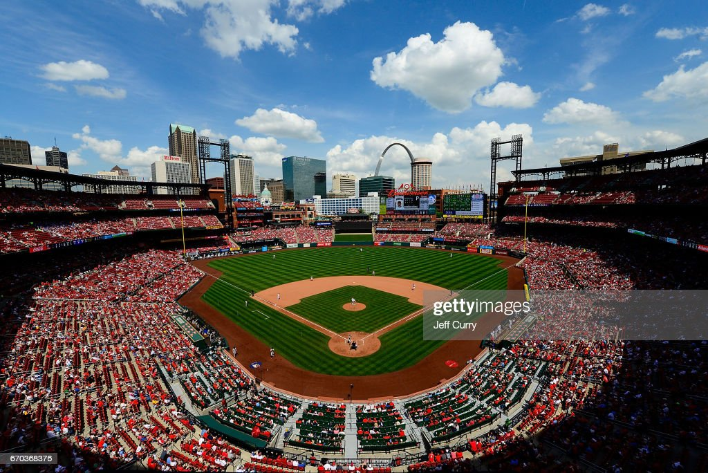 A general view of Busch Stadium as the Pittsburgh Pirates play the St. Louis Cardinals during the eighth inning at Busch Stadium on April 19, 2017 in St Louis, Missouri.