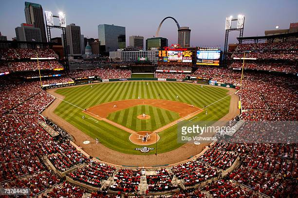 A general view of Busch Stadium as the St Louis Cardinals play the New York Mets during Opening Day on April 1 2007 at Busch Stadium in St Louis...