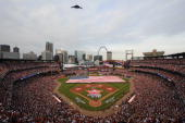 A general view of Busch Stadium during the pregame ceremonies of the 2009 AllStar Game at Busch Stadium July 14 2009 in St Louis Missouri The...