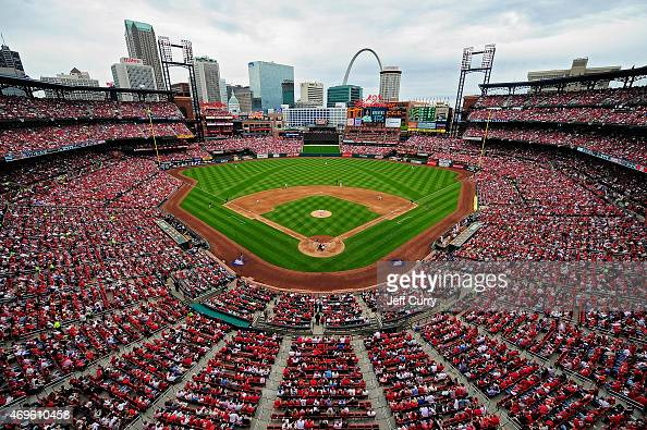 A general view of Busch Stadium during third inning of a game between the Milwaukee Brewers and the St Louis Cardinals on April 13 2015 in St Louis...