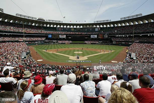 General view of Busch Stadium from behind home plate field level during the game between the St Louis Cardinals and the Cincinnati Reds at Busch...