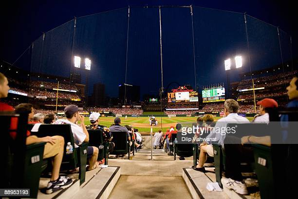 A general view of Busch Stadium from the seats behind home plate as the Detroit Tigers play against the St Louis Cardinals on June 17 2009 in St...