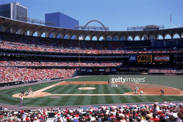 General view of Busch Stadium home of the St Louis Cardinals during the game against the Florida Marlins on MAY 25 2000 in St Louis Missouri The...