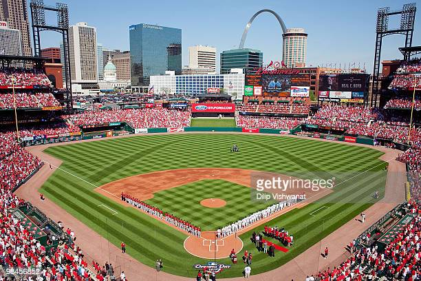A general view of Busch Stadium prior to the St Louis Cardinals playing against the Houston Astros in the home opener at Busch Stadium on April 12...
