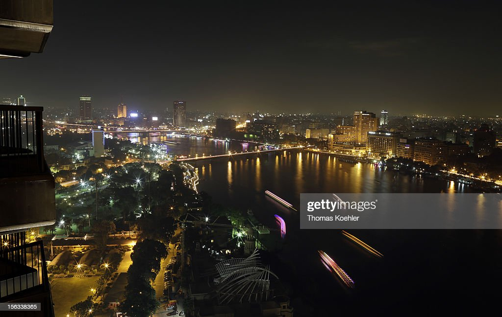 A general view of Cairo and Nile by night from Sofitel on November 12, 2012 in Cairo, Egypt.