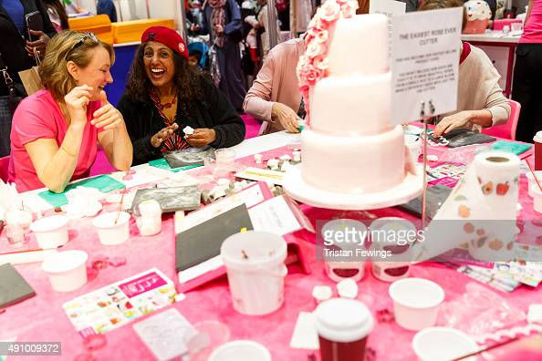 A general view of cake making demonstrations during The Cake Bake Show at ExCel on October 2 2015 in London England