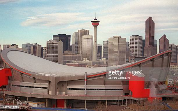 General view of Calgary with the Saddledome site of the hockey and figure skating events for the upcoming Winter Olympic Games with the Calgary...