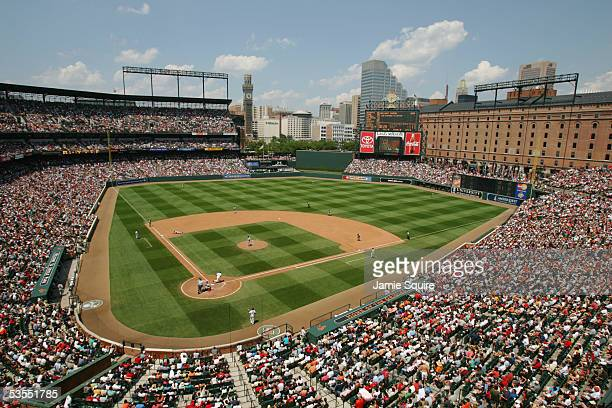 A general view of Camden Yards during the MLB game between the Boston Red Sox and the Baltimore Orioles on July 9 2005 at Camden Yards in Baltimore...