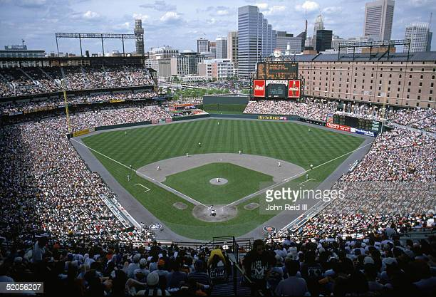 A general view of Camden Yards taken during a Baltimore Orioles game against the Cleveland Indians on May 13 1995 in Balitmore Maryland