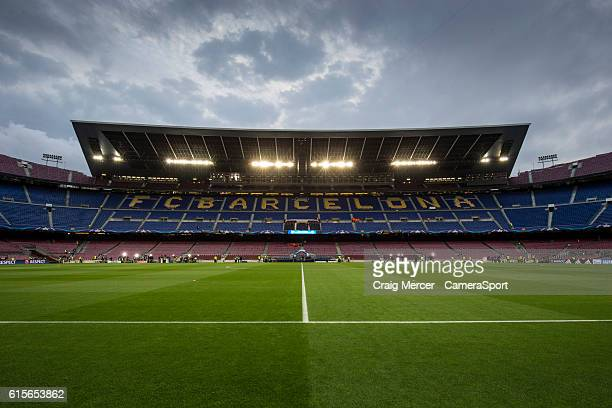 A general view of Camp Nou home of Barcelona during the UEFA Champions League match between FC Barcelona and Manchester City FC at Camp Nou on...