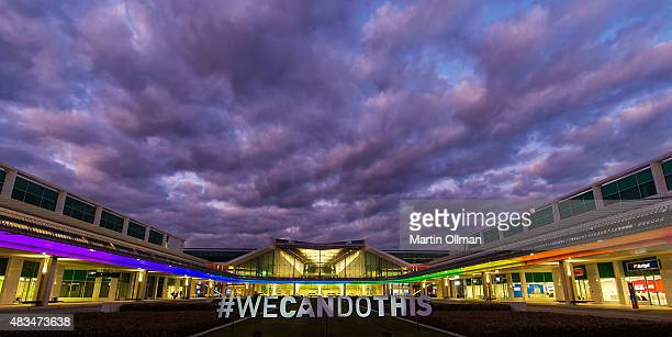 A general view of Canberra airport terminal which is to be lit up this week with the colours of the rainbow and signs supporting the Australian...