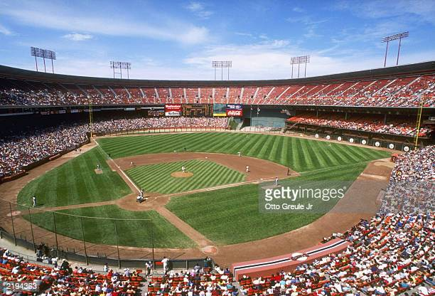 General view of Candlestick Park home of the San Francisco Giants during a 1989 circa MLB game in San Francisco California